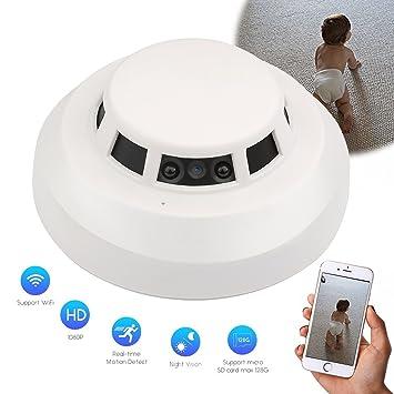 SpyCent Wi-Fi Detector de Humo HD Spy Alarma de vigilancia ocultada Cámara de Seguridad Nanny Motion Detecor Visión Nocturna Aplicación iOS/Android Paquete ...