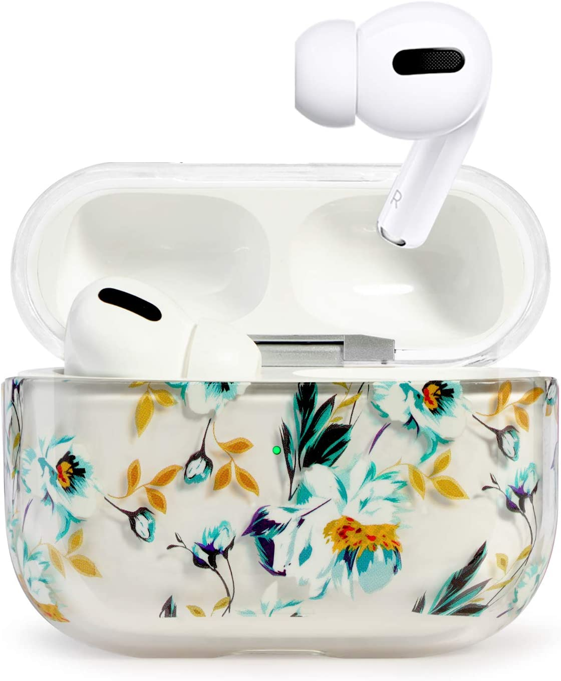 AirPods PRO Case, HIDAHE Cute AirPods PRO Case, Pattern Design AirPods PRO Cover Protective AirPods PRO Accessories Kit Compatiable with Apple AirPods PRO Case, Flower