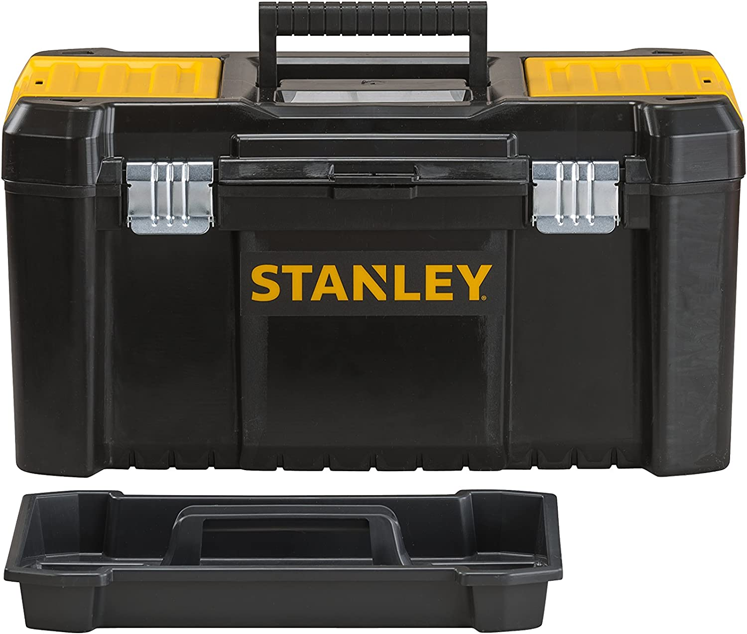 Inch Black//Yellow Stanley STST1-75521 Essential 19 Toolbox with Metal latches