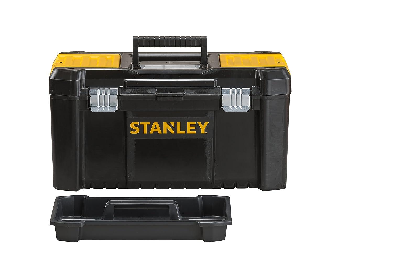 16, 20x19,5x41cm, stabiler Werkzeugkoffer aus Kunststoff, Werkzeugkiste mit Kunststoffschlie/ßen ausgestattet, Organizer mit entnehmbarer Trage STST1-75517 Stanley Werkzeugbox Werkzeugkasten