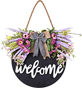 Welcome Wreath Sign for Farmhouse Front Porch Decor, Rustic Door Hangers Front Door with Premium Greenery-Welcome Home Sign Porch Hanging Housewarming for Home Decoration