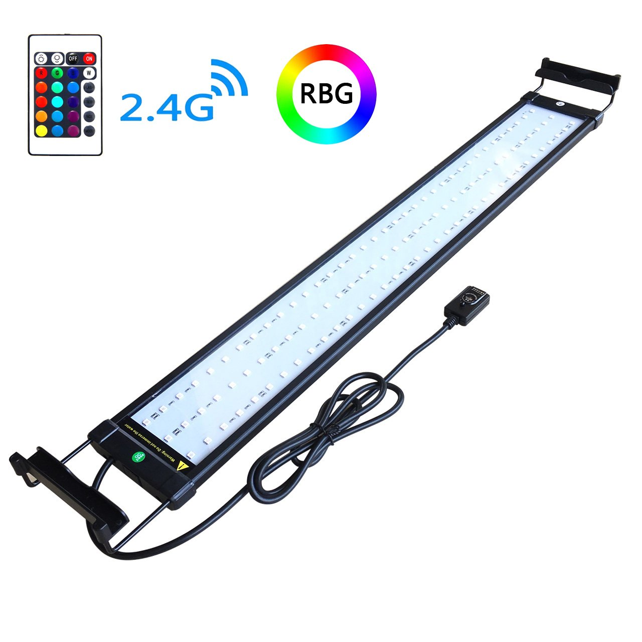 COODIA Aquarium Hood Lighting Color Changing Remote Controlled Dimmable RGBW LED Light for Aquarium/Fish Tank, Extendable (for Fresh and Salt Water) by COODIA