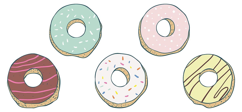Pegatina de pared de cocina Donuts con glaseado o ...