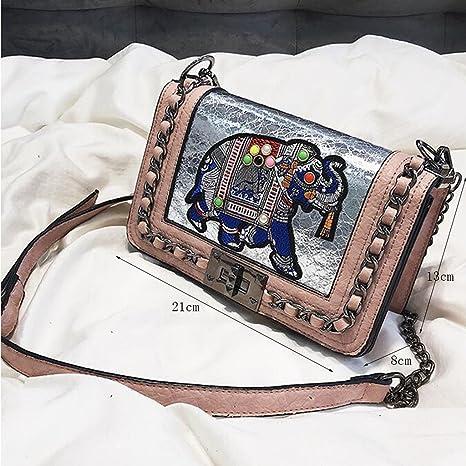 Liu Yu·casa creativa Bolso de Crossbody Bolso de Hombro del Bolso de Las Mujeres Bolso de Cadena del Remache Bolso Cuadrado Pequeño Paquete Diagonal de la ...