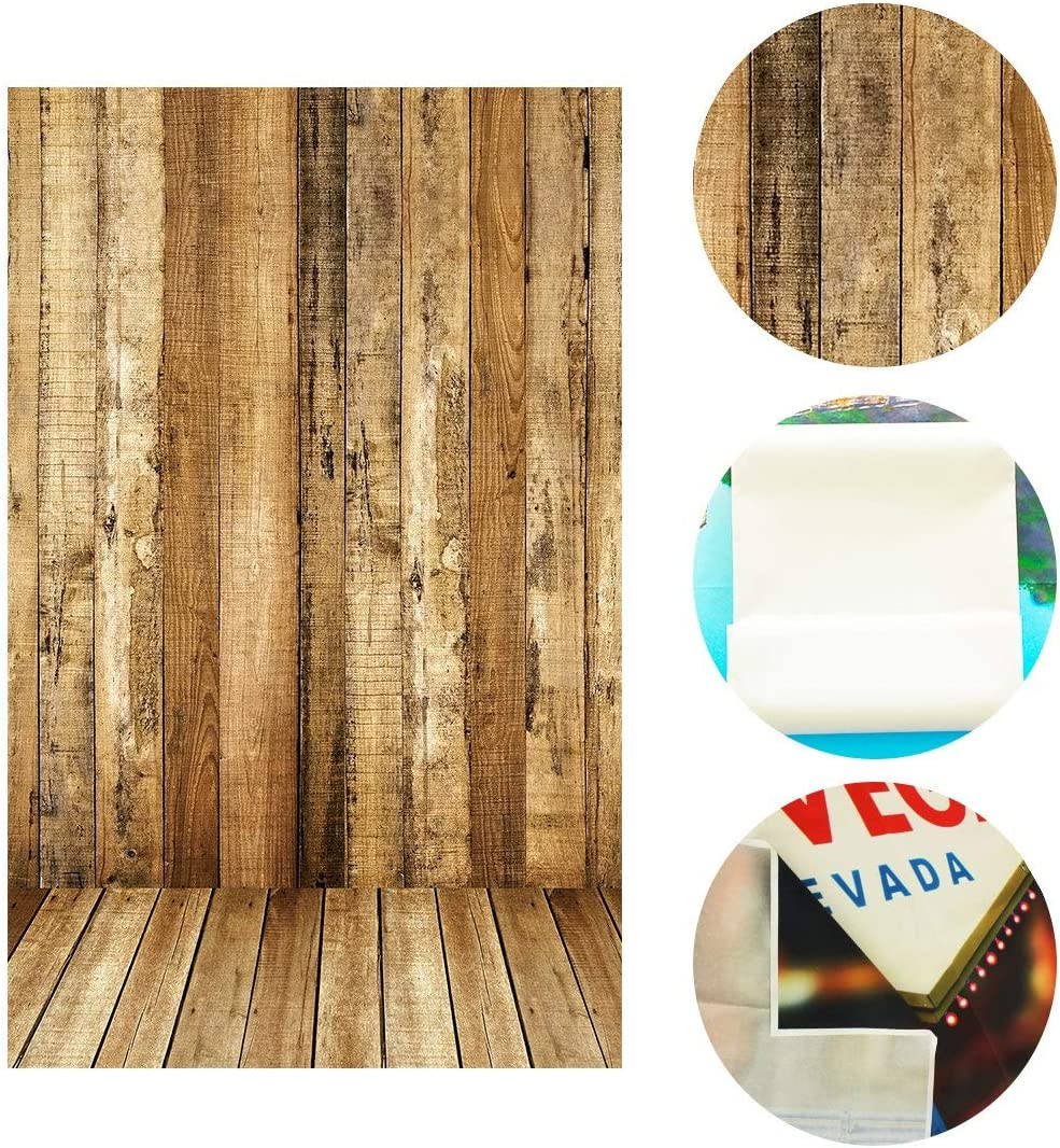 GoEoo 5 X 7 Ft Photo Backdrop Wooden Wall and Floors Studio Background for Photography BG425