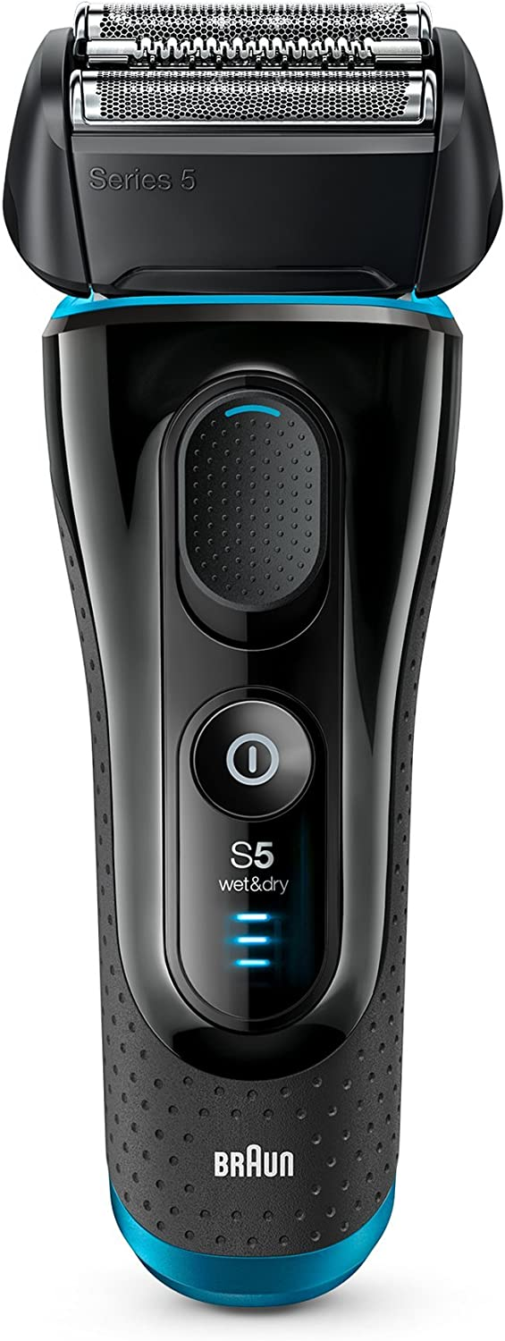 Braun Series 5 5140s Men's Electric Foil Shaver, Wet and Dry, Pop Up Precision Trimmer, Rechargeable and Cordless Razor Black/Blue