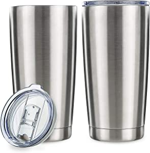 20oz Tumbler Double Wall Vacuum Insulated Coffee Mug Stainless Steel Coffee Cup with Lid, Travel Mug Works Great for Ice Drink, Hot Beverage (2 pack, Stainless Steel)