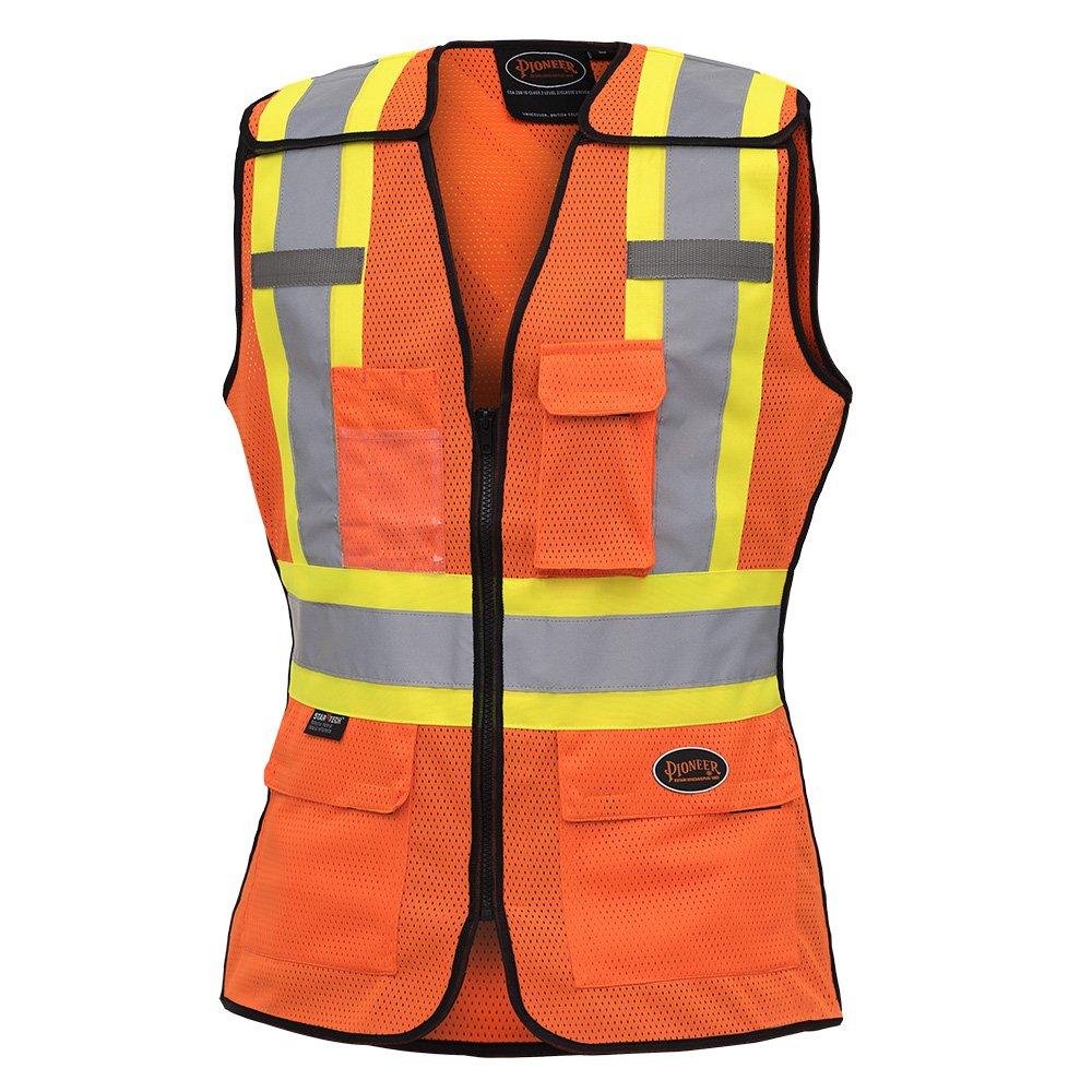 Orange Pioneer Hi Vis Breathable 5 Point Tear-Away Women Safety Vest V1023650-XL XL