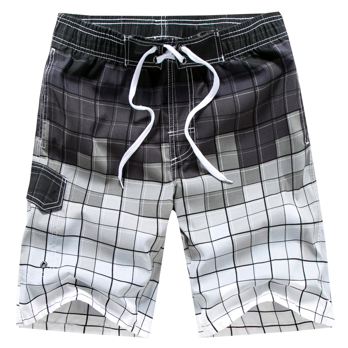 Plus Size Bathing Trunks for Men Plaid Printing Quick-Drying Cargo Water Shorts Fashion Breathable Bathing Suits with Pockets, Gray Size XXL