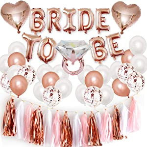 Bachelorette Party Decorations Kits-Rose Gold Bridal Shower Party Decor and Supplies-Bride to Be Balloons,Ring & Champagne Foil Balloons for Bridal Shower