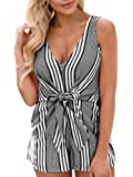 Nailyhome Women's Summer Deep V Neck Sleeveless Stripe Short Jumpsuits Rompers Playsuits