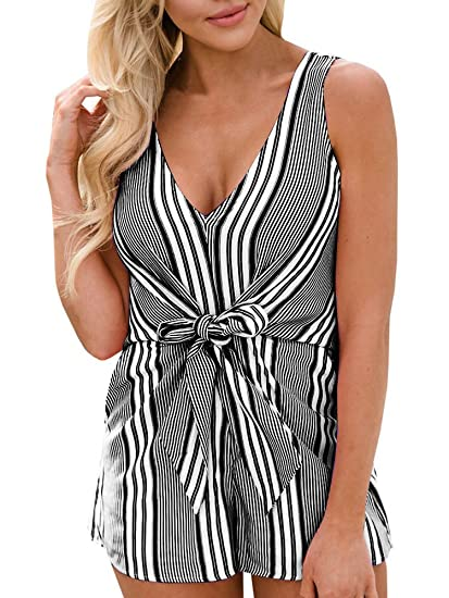 8f7048f4fd7e Image Unavailable. Image not available for. Color  Seraih Womens Sexy  Rompers for Juniors Sleeveless Stripe Tank Tops Shorts Jumpsuits