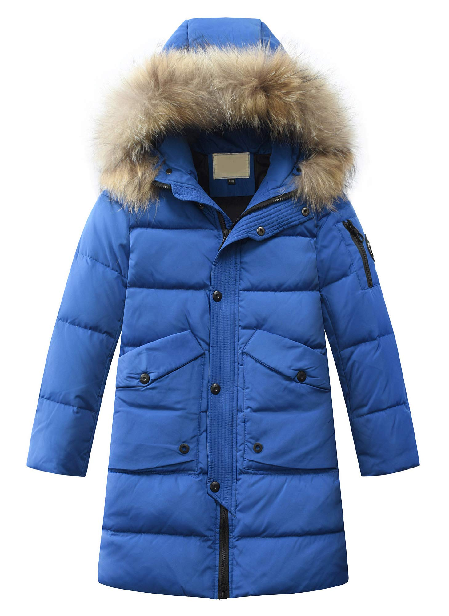 Mallimoda Boys Winter Cotton Hooded Coat Puffer Jacket Outwear Big Boys Mid-Long