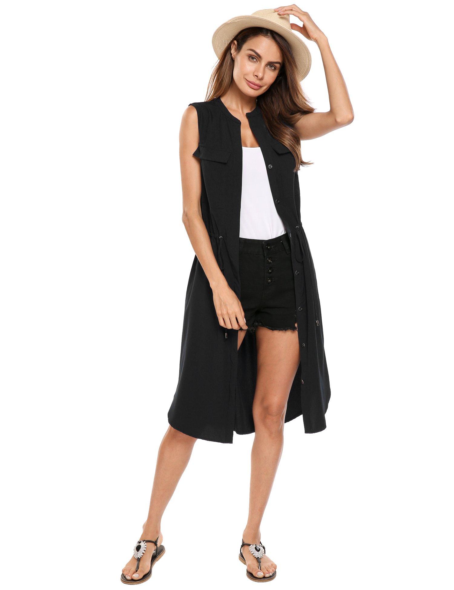 Beyove Women's British Style Lapel Collar Long Windbreaker Parka Sleeveless Trench Vest Cardigan Black L