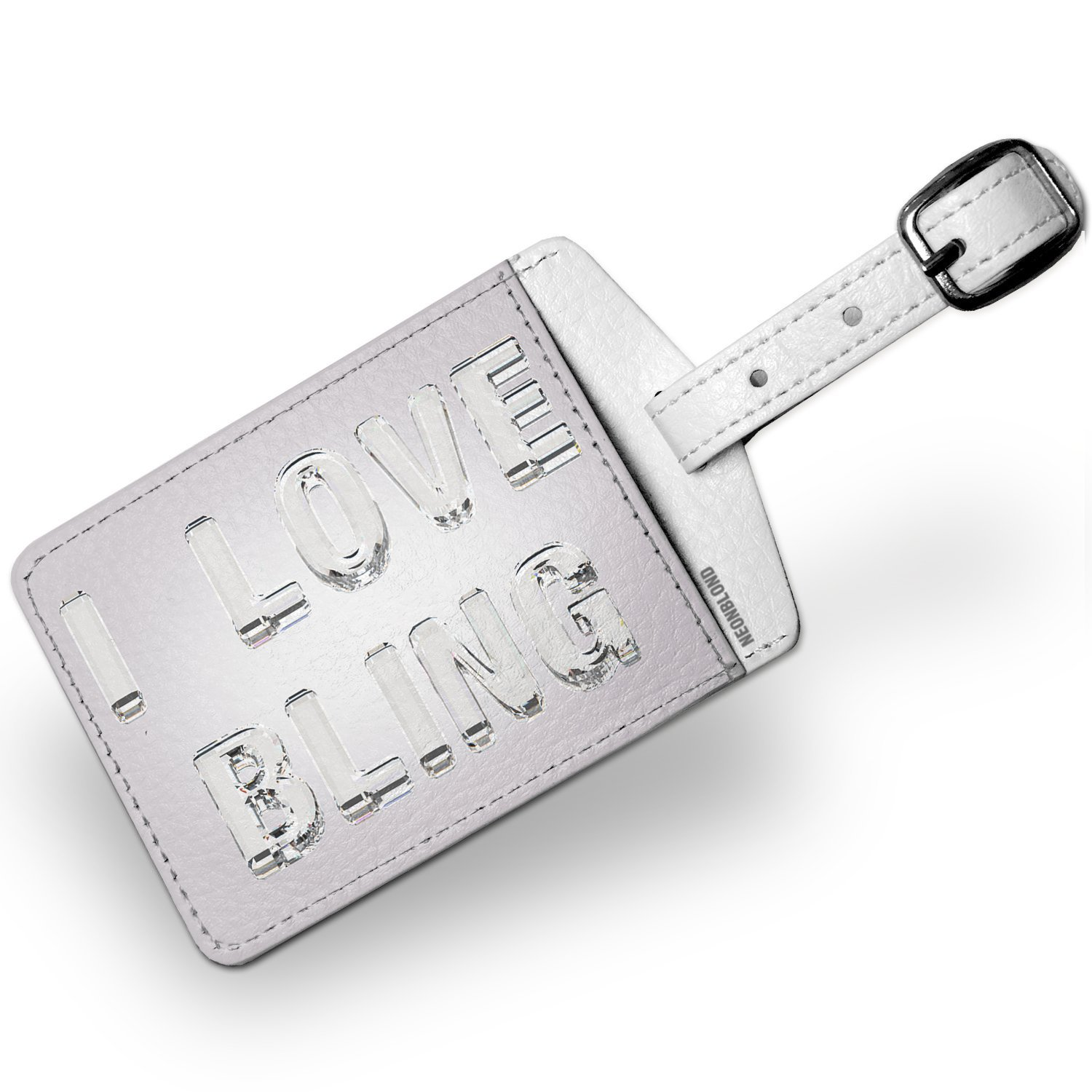 Luggage Tag I Love Bling Diamonds Glass Lettering - NEONBLOND