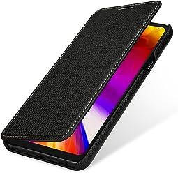 StilGut Book Type, Housse en Cuir pour LG G7 ThinQ. Etui de Protection en Cuir véritable pour LG G7 ThinQ à Ouverture latérale, Noir