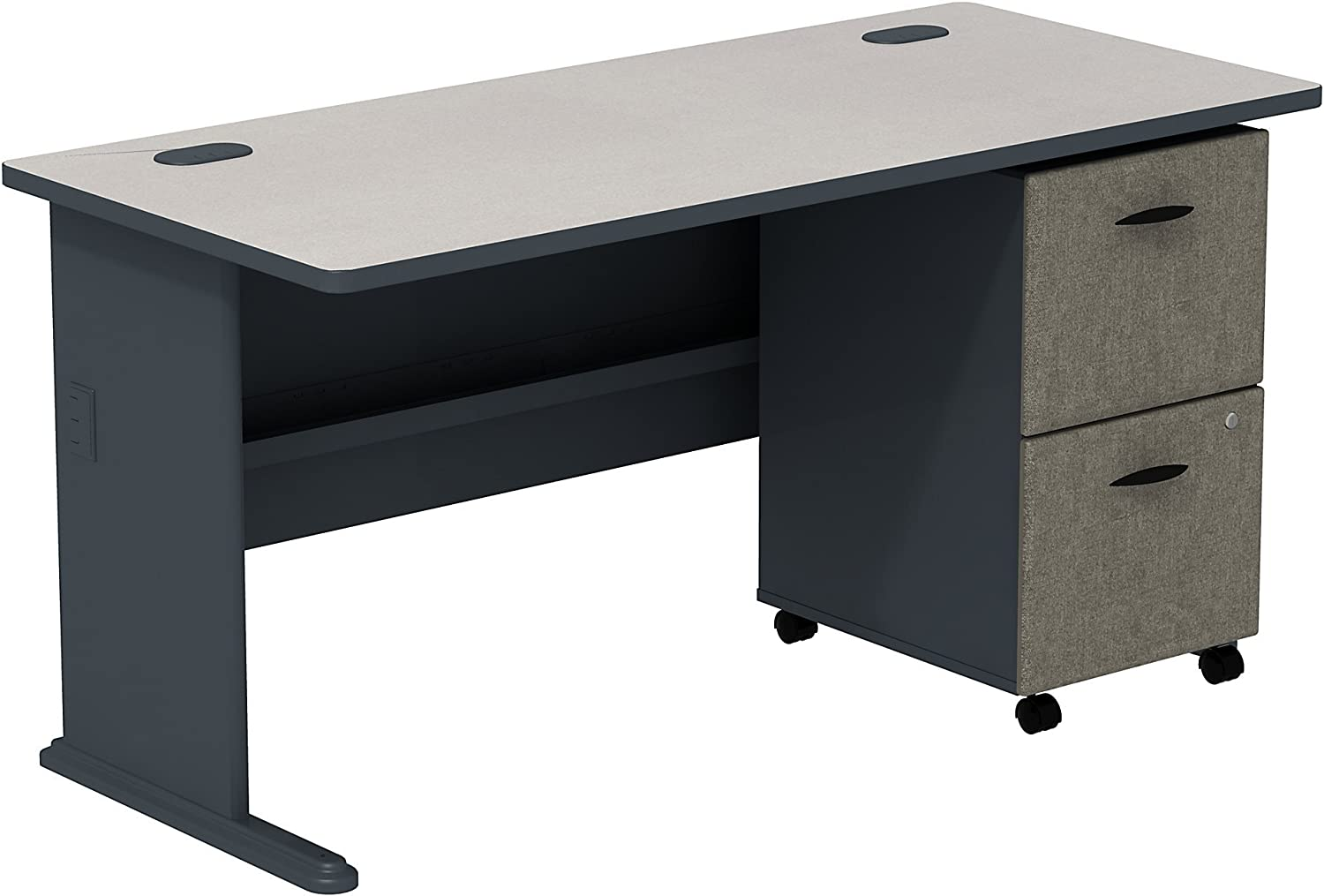 Series A 60W Desk with 2 Drawer Mobile Pedestal in White Spectrum and Slate