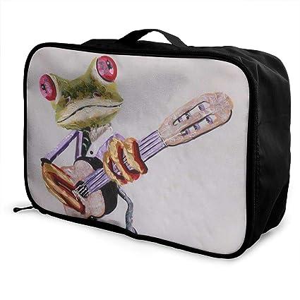 7be9a135ab65 Amazon.com: customgogo Animal Frog Guitar Travel Luggage Tote ...