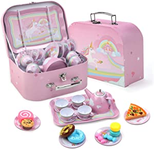 Elsatsang Unicorn Pretend Tin Teapot Party Set with a Carrying Case & 9 Food Sweet Treats Playsets for Kids Kitchen Pretend Play, 24 Piece