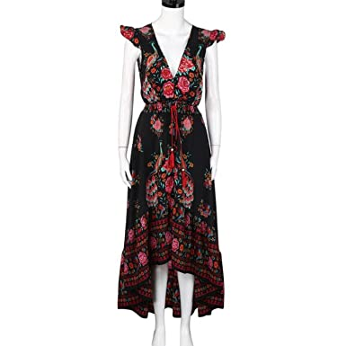 Lovely-Shop Vintage Summer Boho Dress Etehnic Sexy Print Dress Tassel Beach Bohemian Hippie Dress