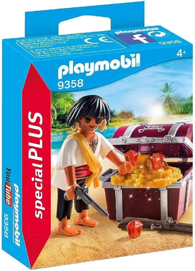 PLAYMOBIL- Pirata con Cofre del Tesoro Juguete, Multicolor (geobra Brandstätter 9358): Amazon.es: Juguetes y juegos