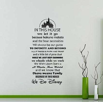 Dans Cette Maison Nous Faisons De Disney Autocollant Mural