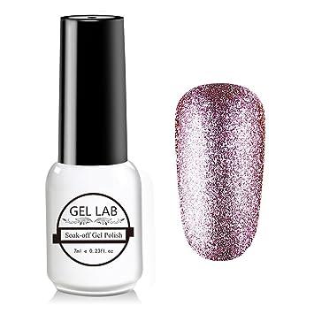Amazon.com : GEL LAB Glitter Nail Gel Polish Platinum Soak Off UV ...