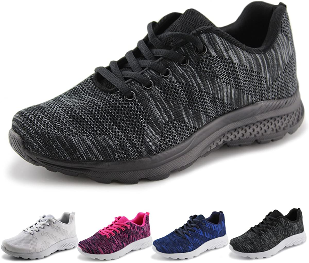 Jabasic Women s Breathable Knit Sports Running Shoes Casual Walking Sneaker