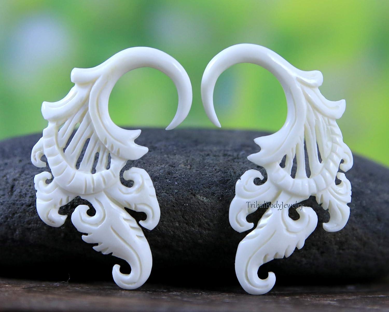 0 gauge bone earring 8 mm gauged white Bone earring 8mm Stretching Whit Bone Earrings Handcrafted white gauge earring C020