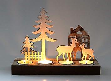 Weihnachtsdeko Holz Modern.Markenlos Kerzenhalter Kerzenständer Hirsch Weihnachtsdeko Teelichthalter Dekofigur Holz 4er Modern Design