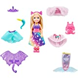 Barbie Dreamtopia Chelsea Doll and Dress-Up Set with 12 Fashion Pieces Themed to Princess, Mermaid, Unicorn and Dragon, Gift