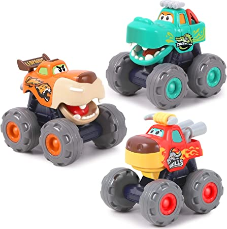 iPlay, iLearn Monster Trucks Toy for Boy, Big Play Foot Vehicles, Pull Back, Friction Powered, Toddlers Push and Go Set, Animal Toy Cars for 1 2 3 4 Year Old Boys, Birthday Gift for 12 18 Month Kids