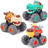 iPlay, iLearn Monster Trucks Toy for Boy, Big Play Foot Vehicles, Pull Back, Friction Powered, Toddlers Push and Go Set, Anim