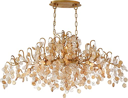 Eurofase 29061-013 Campobasso Hand Pressed Clear Amber Glass Wafer Linear Chandelier