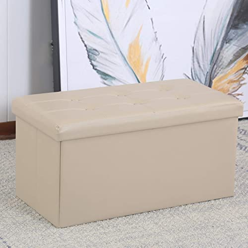 CANMOV Folding Storage Ottoman Bench, 30 Inches Faux Leather Storage Chest Footrest Coffee Table Padded Seat, Khaki