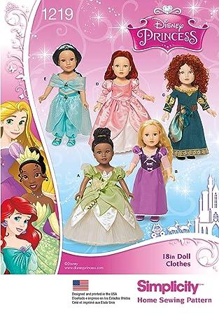 Simplicity 1219 Größe OS Disney Princess 18 Puppenkleider ...
