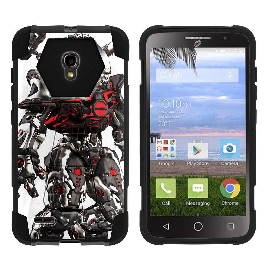 TurtleArmor   Compatible for Alcatel One Touch Pop Icon 2 Case [Dynamic Shell] Impact Cover Hard Kickstand Hybrid Shock Fitted Silicone Military War Robot Android Design - Mecha Robot