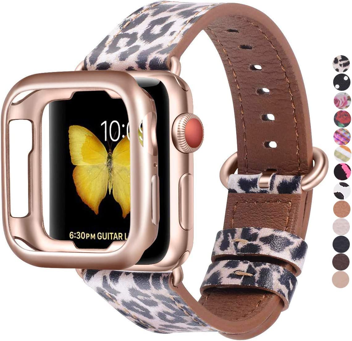 JSGJMY Compatible with Apple Watch Band 38mm 40mm with Case,M/L Women Genuine Leather with Rose Gold Adapter and Buckle(Match the SE/Series 6/5/4/3 Gold Aluminum) for iwatch Series 6/5/4/3/2/1, Leopard