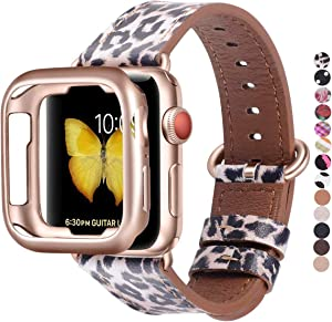 JSGJMY Compatible with Apple Watch Band 38mm 40mm with Case,Women Genuine Leather with Rose Gold Adapter and Buckle(The Same Color as SE/Series 6/5/4/3 Gold Aluminum) for iwatch Series 6/5/4/3/2/1, Leopard
