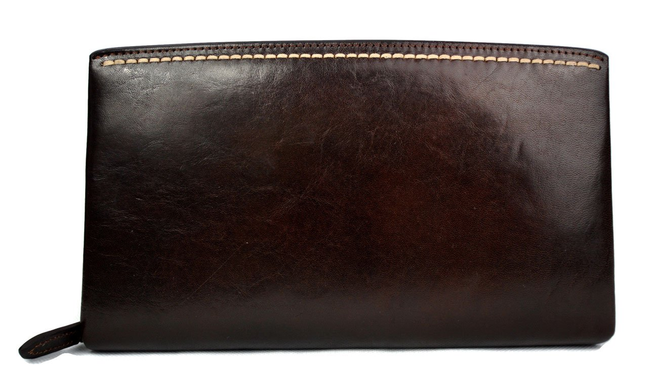Leather clutch leather zipped bag big leather clutch zipper pouch leather zipper pouch dark brown leather clutch zipper clutch bag handbag