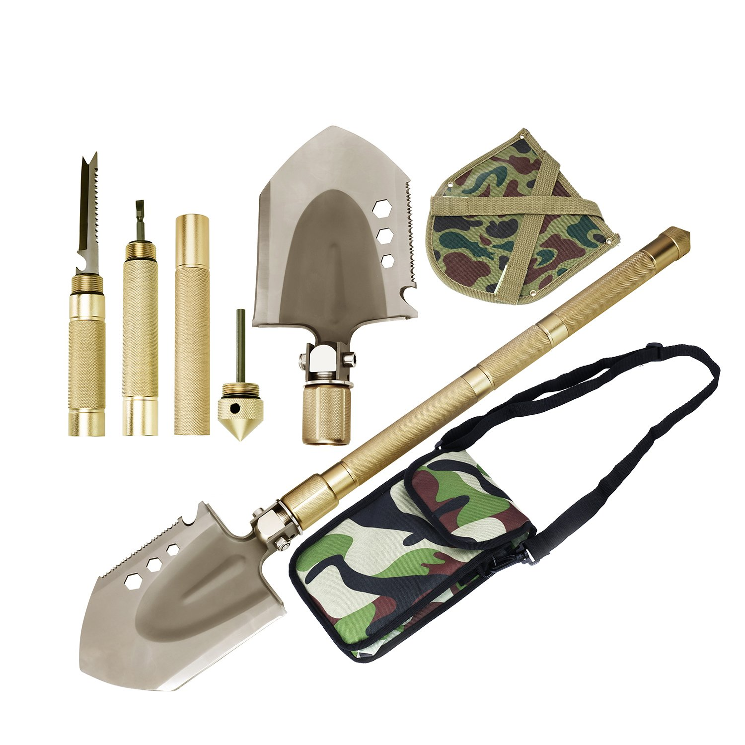 ROSE KULI Military Folding Shovel Multitool - Compact Backpacking Tactical Entrenching Tool Hunting Camping Gear Snow Car Shovel with Carrying Case by ROSE KULI (Image #1)