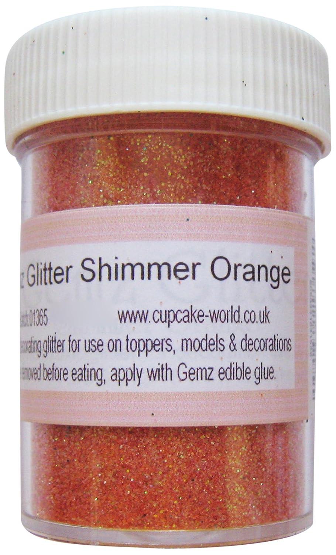 Cup Cake World Gemz - Vaso di glitter non commestibili per decorazione di pasta di zucchero, versione Jumbo da 50 g, colore: Arancione shmorg50