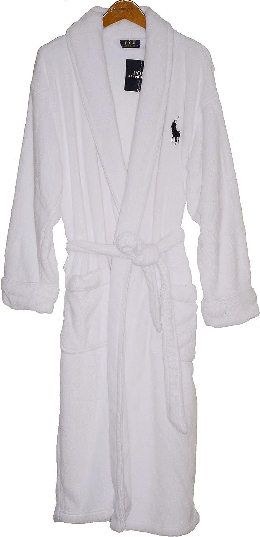 Ralph Lauren Men Sleepwear, Fleece Shawl Collar Robe One Size White