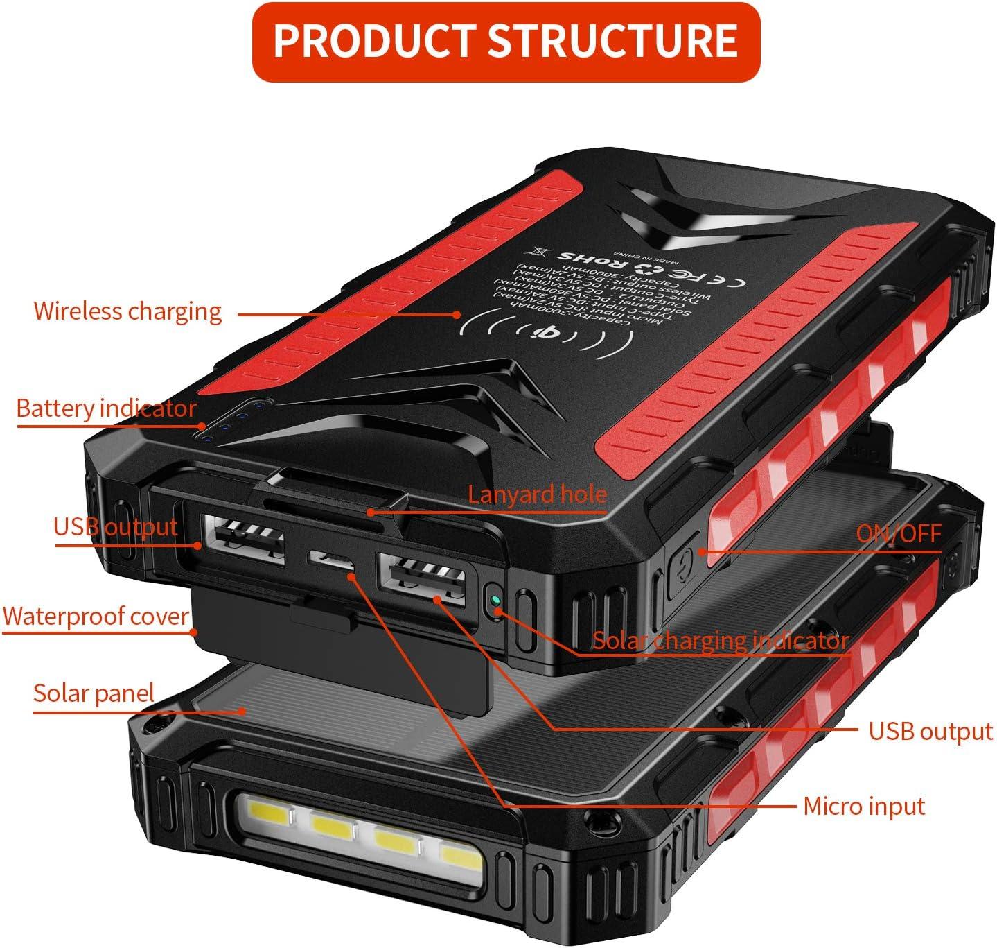 Banco de energ/ía Solar 30000mAh Cargador Solar port/átil Cargador inal/ámbrico Qi Salidas 5V 3A de Alta Velocidad y entradas duales Paquete de bater/ías de Gran Capacidad para tel/éfonos Inteligentes