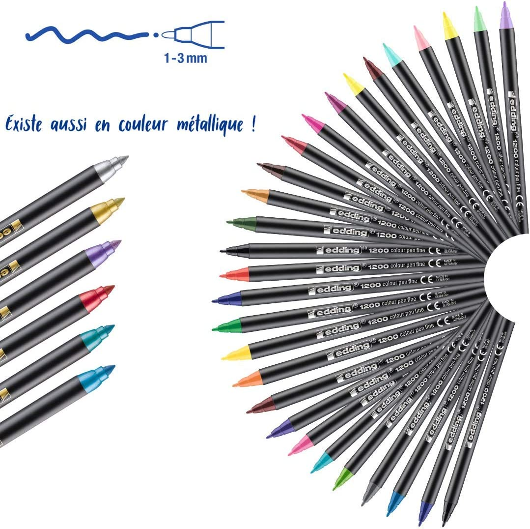 edding 1200-001 - Rotulador con punta de fibra, 10 unidades, color negro: Amazon.es: Oficina y papelería