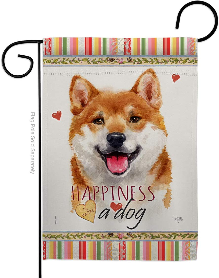 Breeze Decor Dog Shiba Inu Happiness Garden Flag Animals Puppy Spoiled Paw Canine Fur Pet Nature Farm Animal Creature Small Decorative Gift Yard House Banner Made in USA 13 X 18.5