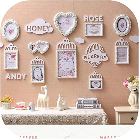 Amazon Com Na Modern Cute Wedding Photo Frame 10pcs Set Wooden Picture Frame Set Wall Decoration Photo Frames Home Decor 2
