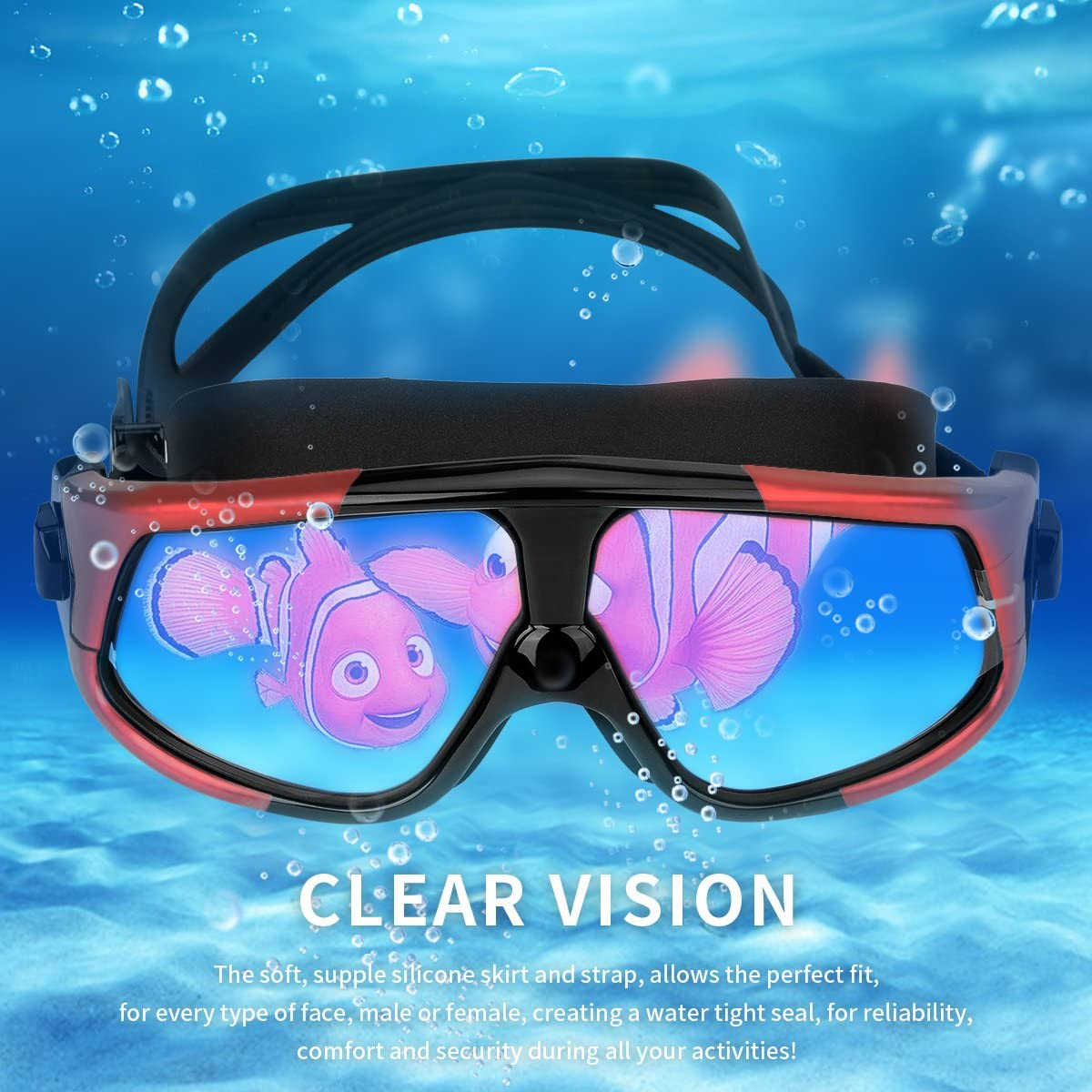 NIAFEYA Professional Swim Goggles No Leaking Adjustable Fit Anti-Fog Waterproof UV Protection Wide View Swimming Goggles for Adult Women Men Red//Black