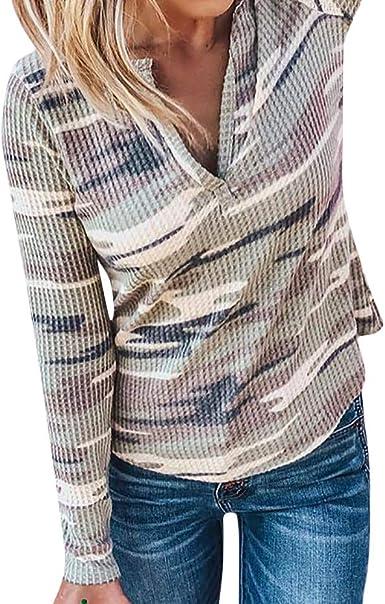 LUCKYCAT Camuflaje de Las Mujeres con Cuello en V Manga Larga Jersey Blusa Camisas Tops Sudadera (Camuflaje, Medio): Amazon.es: Ropa y accesorios