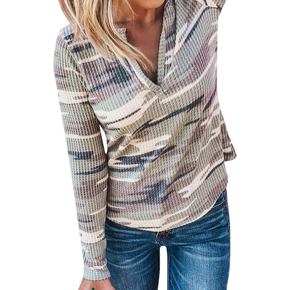 Yvelands Damen Tops Camouflage V-Ausschnitt Langarm Pullover Bluse Shirts Tops Sweatshirt